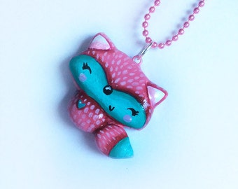 Woodland Necklace,Fox Necklace,Fox Pendant,Forest Animals,Wearable Art,Woodland Fox,Childrens Jewelry,Handpainted Pendant,Holiday Gift,Fox