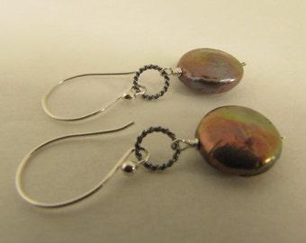 Grey Coin Freshwater Pearl Earrings, Sterling Silver Earrings, Handmade Earrings, Wire Wrapped Earrings, Drops