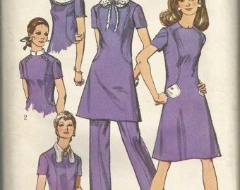 1970s Dress Pants Detachable Collars Dog Ear Collar Peter Pan Collar Band Collar Simplicity 9076 Size 8 Bust 31.5 Vintage Sewing Pattern