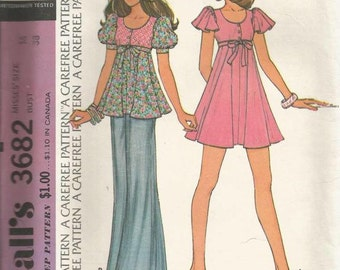1970s Empire Waist Dress or Top Puff Sleeves Flutter Sleeves Scoop Neck McCall's 3682 Size 16 Bust 38 Uncut FF Vintage Sewing Pattern