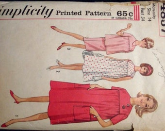 Maternity 1960s Dress Smock Top Straight Skirt Short Sleeves Sleeveless Jewel Neck Simplicity 4857 Bust 34 Womens Vintage Sewing Pattern