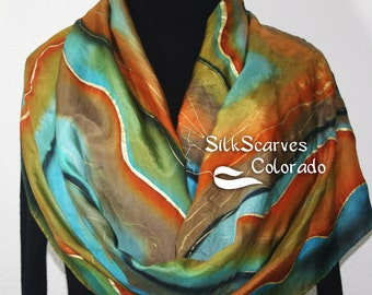 Silk Scarf Hand Painted. Teal, Turquoise, Brown Handpainted Silk Shawl MISTY MORNING-1, in Four SIZES. Birthday Gift. Free Gift-Wrapping