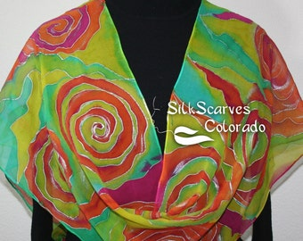 Silk Scarf, Hand Painted Chiffon Silk Shawl, Lime Pink Orange Hand Dyed Silk Scarf, WILD ROSES Large 14x72 Birthday Gift Scarf, Gift-Wrapped