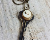 Vintage Key Necklace With Vintage Buttons Black, Beige and White