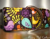 "Large Dog Collar Birds in Ferns 1.5"" Quick Release buckle adjustable - martingale style is cost upgrade"