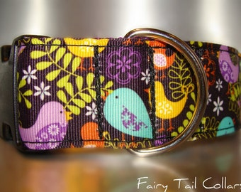 """Sale Large Dog Collar Birds in Ferns 1.5"""" Quick Release buckle adjustable - martingale style is cost upgrade"""