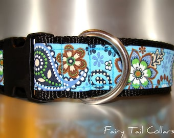 "Sale Large Dog Collar 1.5"" width Quick Release or Martingale collar style adjustable Wildflower Paisley Blue"