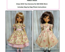 Pattern MSD3 Dress With Two Versions for BJD MSD Fit to Kaye Wiggs MSD 45cm
