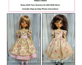 Pattern MSD3 Dress With Two Versions for BJD MSD Fit to Kaye Wiggs MSD 45 and 43cm