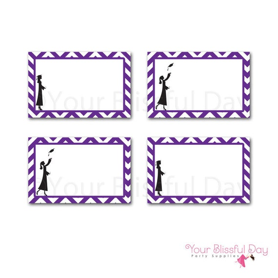 PRINTABLE Female Graduation Party Label Tents (Color of your choice) #302