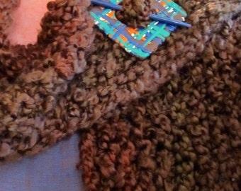 Clan Fraser Hunting tartan inspired reversable shawl pin and matching stick