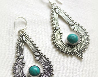 Indian Tribal long dangle earrings Silver plated with a stone Gypsy long earrings Boho chic Ethnic Native american designed by Inali