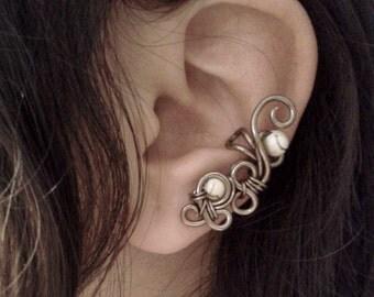 Ivory Bubbles Ear Cuff non piercing swirl minimalist wrap earring