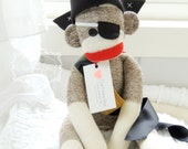 Pirate Sock Monkey Doll, Gifts for Boys, Plush Child's Toy