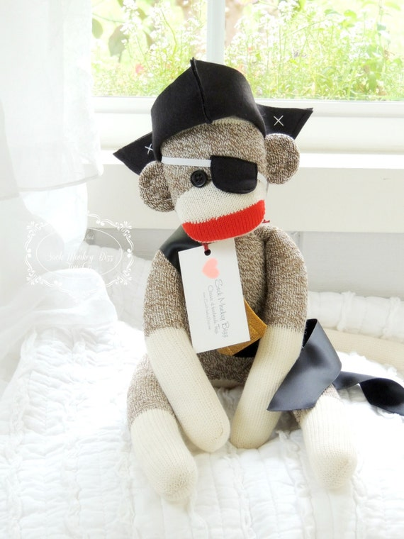 Pirate Toys For Boys : Pirate sock monkey doll gifts for boys by sockmonkeybizztoyco