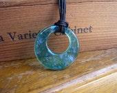 Aqua Dichroic Glass Pendant Necklace 02