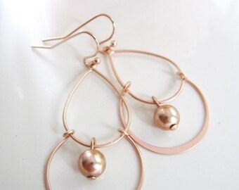 Rose Gold Chandelier Earrings, Rose Gold Two Tier Earrings, Rose Gold Swarvoski Pearls, Simple Everyday Earrings