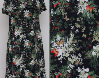 Black and Floral and Butterflies by Damon Dress Polyester Dress 60's
