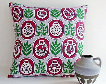 Vintage Fabric Cushion Cover, Grey, Maroon, Green Pillow 1950s - 1960s, Mid Century Modern