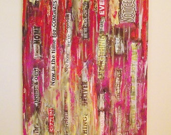 Urban Mashup No 5 Realtor Realty Office Housewarming Gift Mixed Media Original 15 x 30 Urban Art American Headlines Graffiti Acrylic Subway