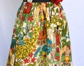 Women's Mexican Artistic Cotton Skirt Elastic Waistband and Embellished Rose Hair Clip