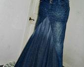 Bohemian mermaid jean skirt leopard print dark wash animal Renaissance Denim Couture fairy goddess mermaid belle bohémienne OOAK