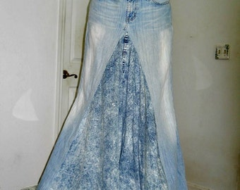 Bohemian ballroom jean skirt Renaissance Denim Couture fairy goddess mermaid belle bohémienne Made to Order