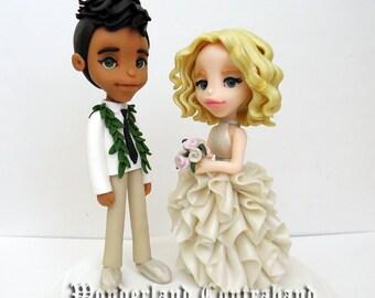 """Deluxe """"4 Groom and Bride - Wedding Cake Topper - ORIGINAL OOAK Miniature Sculptures - Decor"""