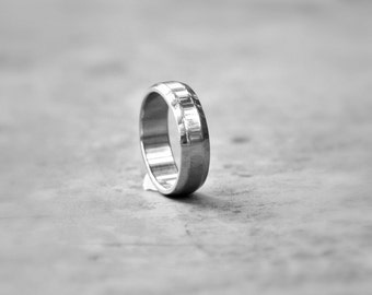 Wedding Band, 6 mm Ridged Stainless Steel Ring, Bold Wedding Ring, Mens Wide Wedding Band, Affordable Wedding Rings, hypoallergenic ring