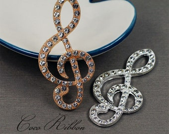 Alloy Rhinestone Crystal Music Note Treble Clef Embellishment Flatback Cabochon - Phone Case Deco A23