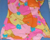 60s Swim Suit, NWT 1-Piece, Mod, Hot Colors, Unworn, Elisabeth Stewart, Size M, 38b, Skirted Front
