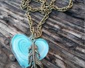 Heart Necklace Feather Jewelry Long Chain Necklace Aqua Jewelry Trending Jewelry Girlfriend Gift Flash SALE Jewelry R28