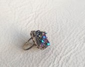 Titanium Aura Quartz Cluster Ring, gently Oxidized Sterling Silver Jewelry, Triangle Arrow motif, Spirit Guide