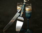 Wedding Glasses and Cake Server Set, Hand Painted, Toasting Champagne Flutes,  Set of 2
