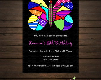 Butterfly Birthday Invitations Printable File