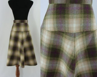 Vintage Sixties Skirt - 1960s Plaid A-Line Skirt - 60s Mid Length Skirt - Midi Knit Skirt
