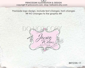 1236-11 doodle frame logo, hand drawn border logo, love heart frame logo, photography logo boutique logo by princessmi