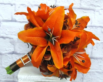 Tiger lily Wedding Bouquet silk bridal bouquet orange brown Autumn fall wedding flowers
