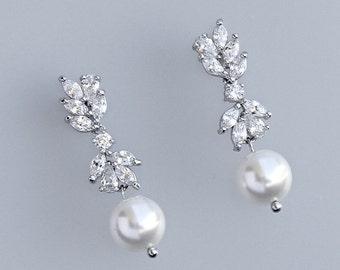Bridal Earrings, Pearl Drop Earrings, Crystal Chandelier Bridal Earrings, Crystal Bridal Jewelry,  Wedding Earrings,ANNIE