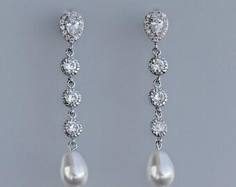 Long Bridal Earrings, Crystal & Pearl Earrings, CLIP ON Earrings Option, Pearl Drop Earrings, Wedding Earrings, Bridal Jewelry, JILL