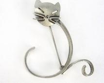 Vintage Beau  Sterling Silver Cat Brooch Pin - Stylized - Swirl - Designer Signed