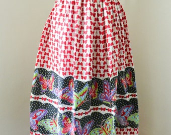 1950s Novelty print butterfly red purple green cotton skirt / 50s Border printed insect day skirt - M