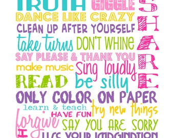 "Playroom Rules - DIGITAL FILE - Bright Pastels - Pink, Lavender, Yellow, Baby Blue, Pale Green on White - Includes ""Playroom Rules"" on top"