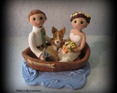 Wedding Cake Topper, Custom Cake Topper, Bride, Groom and Pet, Boat, Polymer Clay, Wedding/Anniversary Keepsake