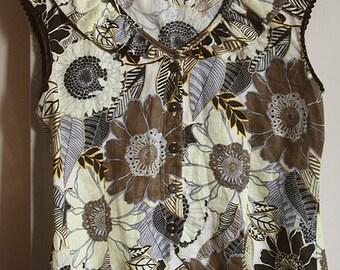 Vintage, linen camisole, top tank, white, brown, pale yellow, grey, flower pattern,