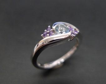 Aquamarine Wedding Ring with Amethyst in 14K White Gold