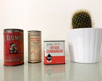 Set of Three Red and White Vintage Tins