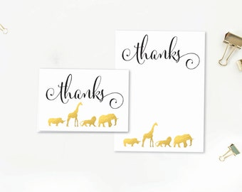 Safari Animal Baby Shower Thank You Card - Instant Download - Printable - Folded and Flat 6x4