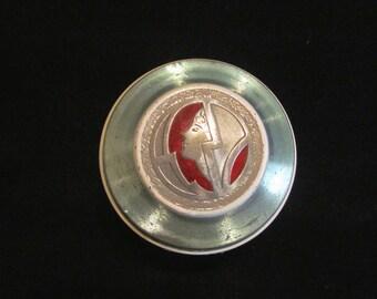 Art Deco Powder Box 1930s Aluminum Enamel Powder Jar Vanity Accessory