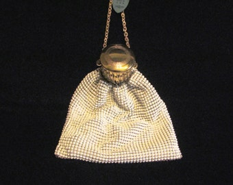 Whiting Davis Gate Top Purse White Mesh Purse Wedding Purse Bridal Bag UNUSED Excellent Condition